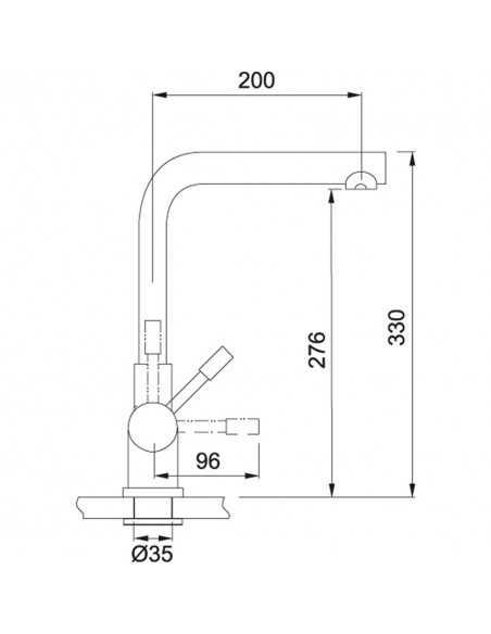 MONDIAL 4 in 1 - užvirinto vandens maišytuvas su filtruoto šalto, paprasto karšto/šalto vandens galimybe viename, Franke