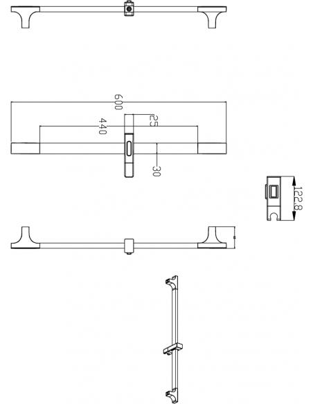 Dušo stovas su reguliuojamu laikikliu 12659B, Herz, matinės juodos spalvos, ABS plastikas, Austrija
