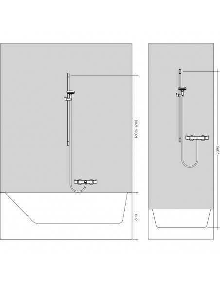 Dušo komplektas su aukštu laikikliu Raindance Select E 120 3 jet 65cm chromas, Hansgrohe
