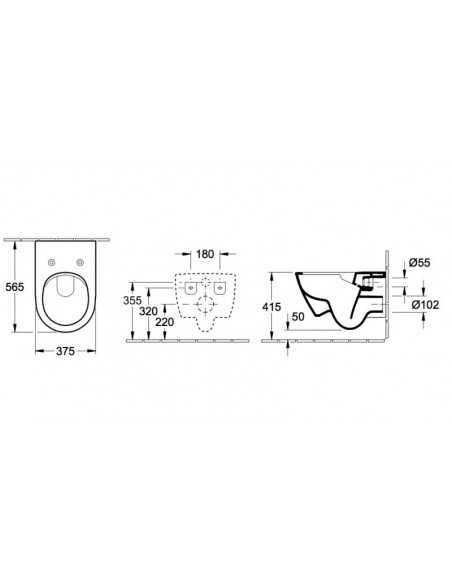 Unitazas su plonu soft close dangčiu Subway 2.0 Direct Flush, Villeroy&Boch