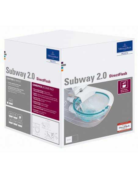 Unitazas pakabinamas Subway 2.0 su CP, DirectFlush, Slim dangtis, Villeroy&Boch