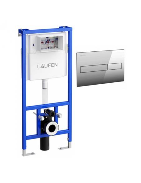 Pakabinamo unitazo Laufen Pro Rimles komplektas su potinkiniu moduliu ir chromuota nuleidimo plokštele, Laufen