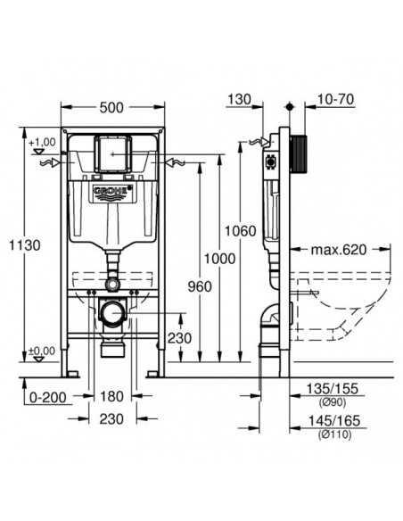 Unitazo Grohe Bau komplektas su potinkiniu moduliu ir nuleidimo plokštele